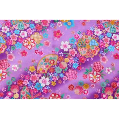 coupon tissu Japonais traditionnel 55x49cm fleuri doré fond violet 98
