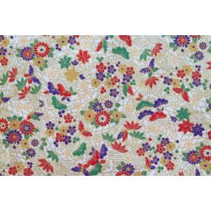 coupon tissu Japonais 55x49cm chiyogami pin fd blanc 101 [MATSUBA]