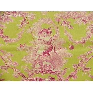 tissu au mètre : Toile de Jouy LUDIVINE ROSE FOND ANIS