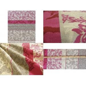 tissu au mètre : MARIE ANTOINETTE ECRU ROSE/GRIS