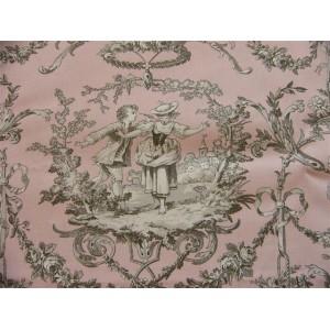 tissu au mètre : Toile de Jouy COLIN MAILLARD FOND ROSE