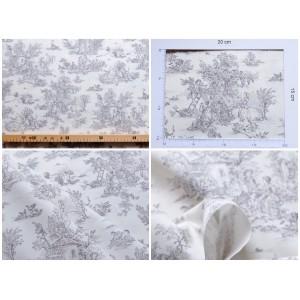 coupon tissu Toile de Jouy MINI PASTORALE (petit, gris fd ivoire)