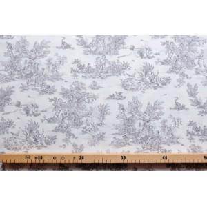 tissu au mètre : Toile de Jouy MINI PASTORALE (petit, girs fd ivoire)