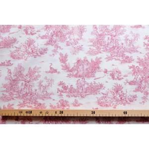 tissu au mètre : Toile de Jouy MINI PASTORALE (petit, rouge fd ivoire)