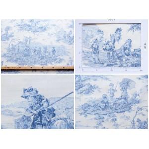 coupon tissu Toile de Jouy HISTOIRE D'EAU BLEU FOND CREME