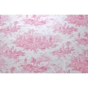 """tissu au metre Toile de Jouy HISTOIRE D""""EAU BORDEAUX FOND CREME"""