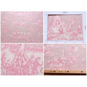 coupon tissu Toile de Jouy HISTOIRE D'EAU FOND ROSE