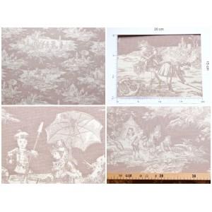 coupon tissu Toile de Jouy HISTOIRE D'EAU FD BEIGE
