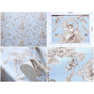 tissu Toile de Jouy LUDIVINE MARRON FOND BLEU