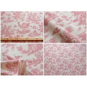 tissu coupon : Toile de Jouy MINI PASTORALE (petit, rouge fd beige)