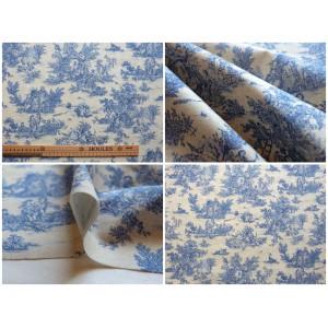 coupon tissu Toile de Jouy MINI PASTORALE (petit, bleu fd beige)