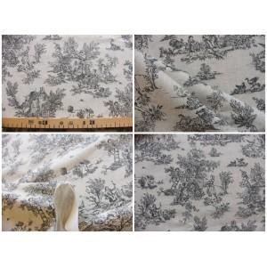 tissu coupon : Toile de Jouy MINI PASTORALE (petit, gris fd beige)
