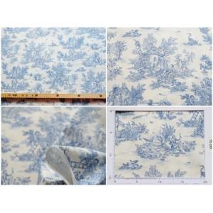 tissu coupon : Toile de Jouy MINI PASTORALE (petit, bleu fd ivoire)