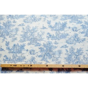 tissu au mètre : Toile de Jouy MINI PASTORALE (petit, bleu fd ivoire)