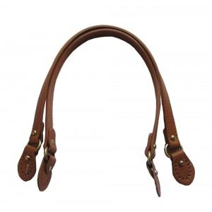 Paire d'anses poignées de sac avec boucle cuir synthétique 1.8x58cm (camel)