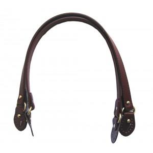 Paire d'anses poignées de sac avec boucle cuir synthétique 1.8x58cm (marron)