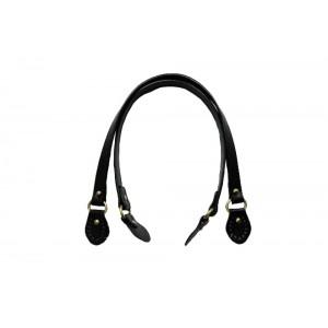 Paire d'anses poignées de sac avec boucle cuir synthétique 1.8x58cm (noir)