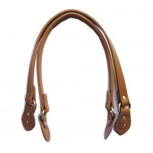 Paire d'anses poignées de sac avec boucle cuir synthétique 1.8x53.5cm (camel)