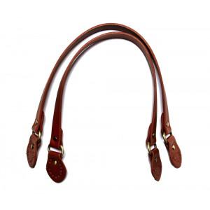 Paire d'anses poignées de sac avec boucle cuir synthétique 1.8x53.5cm (brique)