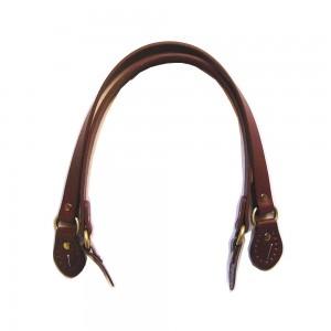 Paire d'anses poignées de sac avec boucle cuir synthétique 1.8x53.5cm (marron)