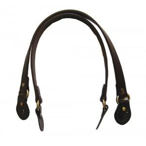 Paire d'anses poignées de sac avec boucle cuir synthétique 1.8x53.5cm (chocolat)