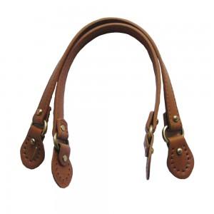Paire d'anses poignées de sac avec boucle cuir synthétique 1.8x43cm (camel)