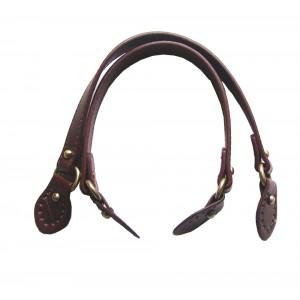 Paire d'anses poignées de sac avec boucle cuir synthétique 1.8x43cm (marron)