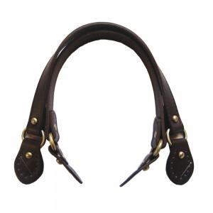 Paire d'anses poignées de sac avec boucle cuir synthétique 1.8x43cm (chocolat)