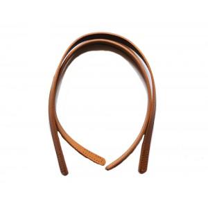Paire d'anses poignées de sac cuir synthétique sans boucle 1.8x62cm (camel)